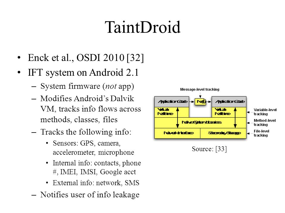 TaintDroid Enck et al., OSDI 2010 [32] IFT system on Android 2.1